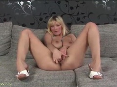Blonde with a big bush masturbates in solo video movies at sgirls.net