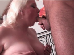 Chubby blonde gives an erotic blowjob videos