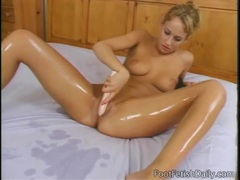 Cute blonde oils up her sexy feet and legs videos