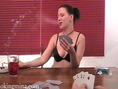 Chick plays strip poker and smokes too videos