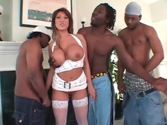 Fake boobs beauty ava devine blows black guys tubes