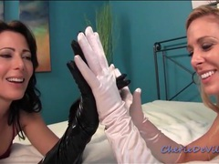Two sexy girls make sensual glove porn movies at kilosex.com