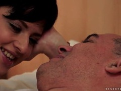 Tight young shaved pussy eaten by old guy movies