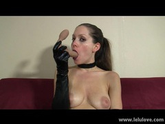 Dildo blowjob from a hottie in black lipstick tubes