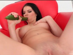 Horny euro beauty sucks a zucchini and fucks it videos