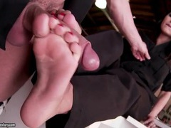 Footjob in the office from a busty babe tubes