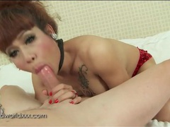 Ladyboy cocksucker sits on his hard boner movies at kilotop.com