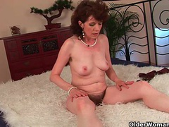 Mature mom with hairy crotch and armpits fucked deep movies at lingerie-mania.com