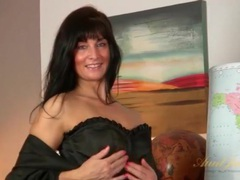 Satin robe and black corset on gorgeous milf videos