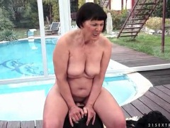 Chubby grandma rides sybian outdoors videos