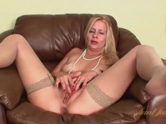 Animal print lingerie looks hot on mature blonde videos