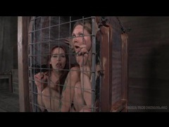 Two girls in a small cage have dildo sex movies at dailyadult.info