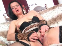 Dark haired mature masturbates in lingerie movies at sgirls.net