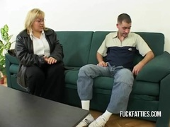 Hot fat horny slut freezes - repairman helps her get warm! clip