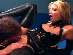Blonde in a uniform and latex lingerie fucking videos