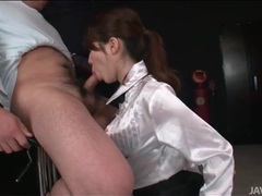 Japanese slut masturbates with his cumshot videos