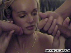 Busty amateur girlfriend threesome with cumshot movies at sgirls.net