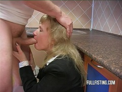 Hot bitch gets fisted and ass-fucked in the kitchen movies at sgirls.net