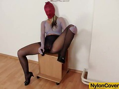 Beautiful blond-haired kelly candy nylon face mask videos