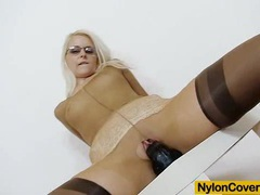 Slender blond-haired full in nylons movies at sgirls.net