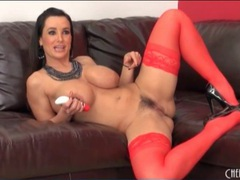 Lisa ann fucks a toy in sexy red stockings movies