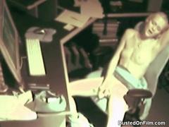 Skinny blonde girl masturbates at work tubes