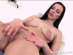 Brunette with sexy tits masturbates solo movies