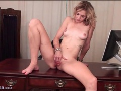 Naked blonde beauty masturbates on desk movies