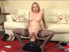 Big titty blonde in stockings rides sybian videos