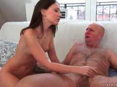 Young lady gets sexy rimjob from old guy videos