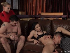 Cuckold cuffed as his lady gets eaten out movies at lingerie-mania.com