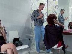 Slut sucks cock at the hair salon movies
