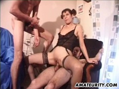 Amateur girlfriend double penetration with facial movies at lingerie-mania.com