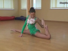 Leggy ballerina in leotard can bend her body movies at kilopills.com
