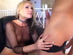 Skinny blonde fucking in sexy fishnet lingerie videos