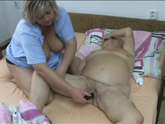 Nurse gives granny lesbian pleasure with toy videos