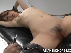 Nasty asian slut in bondage gets her muff teased tubes at chinese.sgirls.net