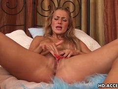 Passionate blondy monica masturbates using a strap on videos