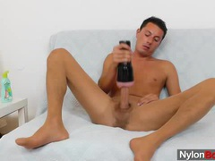 Gay guy masturbates in nylon pantyhose videos