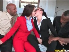 Girls in suits kiss lustily and suck black cock movies