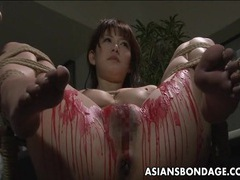 Asian babe get her privates covered in wax. tubes at thai.sgirls.net