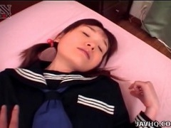 Japanese schoolgirl opens her legs for pussy eating videos