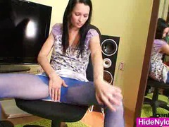 Slim teen in blue nylon tights toys herself movies