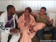 Granny sucks black and white dicks clip