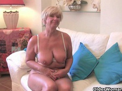 Granny with big tits masturbates with her sex toy collection videos