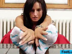 Skinny chick sharon licks her bare feet videos