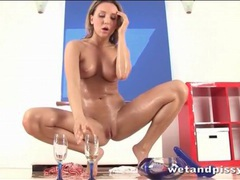 Urine soaked babe fucks with blue dildo videos