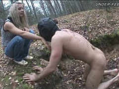 Naked masked man kicked in the woods by babe movies at sgirls.net