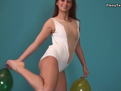 Spandex leotard on brunette doing splits videos