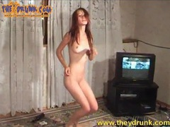 Skinny naked girl is incredibly drunk and smoking movies